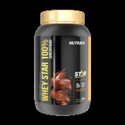 Whey star 100% concentrado sabor chocolate linha star 900 g - Nutrata - 01 un
