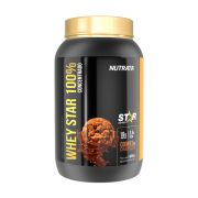 Whey star 100% concentrado sabor cookies e chocolate linha star 900 g - Nutrata - 01 un
