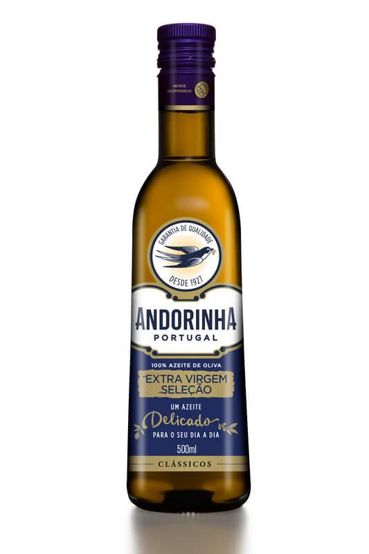 Azeite de oliva extra virgem seleção garrafa vidro 500ml - Andorinha - 01 un