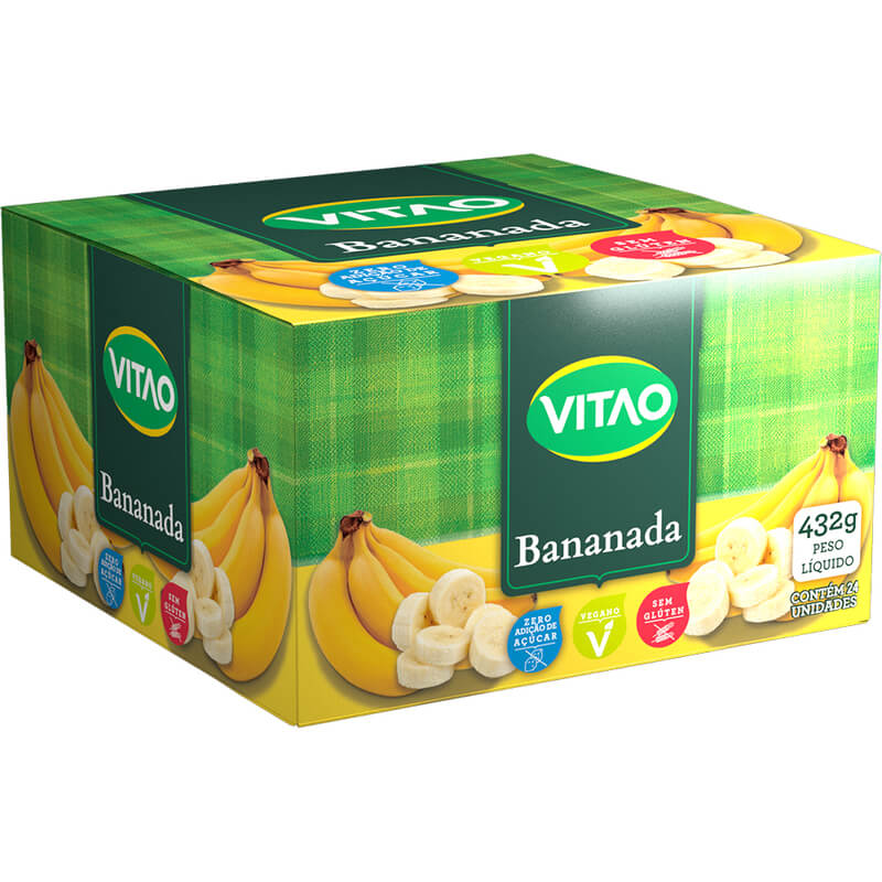Tablete de bananada zero - Vitao - caixa com 24 un