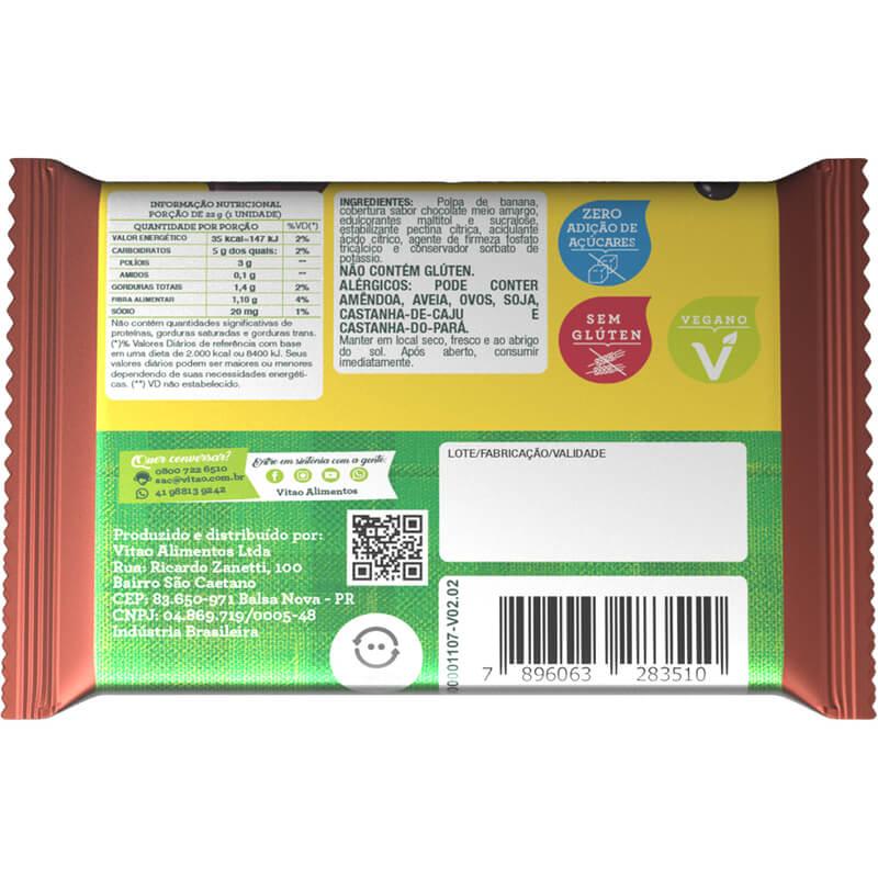 Tablete de bananada zero com cobertura de chocolate meio amargo - Vitao - caixa c/ 24 un