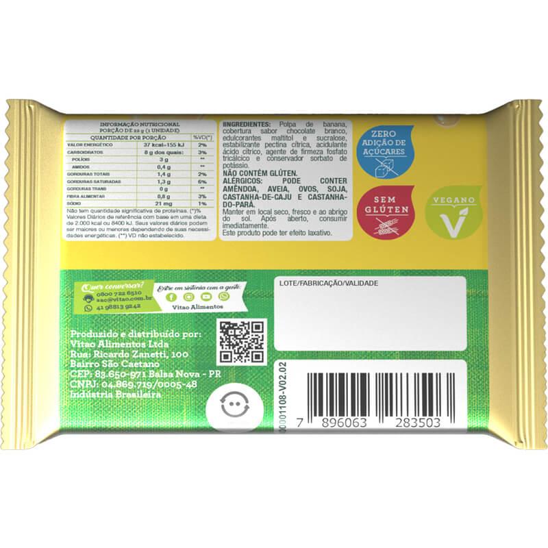Tablete de bananada zero com cobertura de chocolate branco - Vitao - caixa c/ 03 un