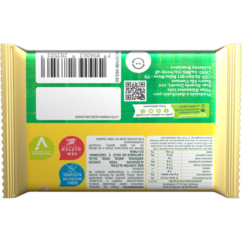 Bananada c/ cobertura de chocolate branco zero - Vitao - cx c/ 24 un.