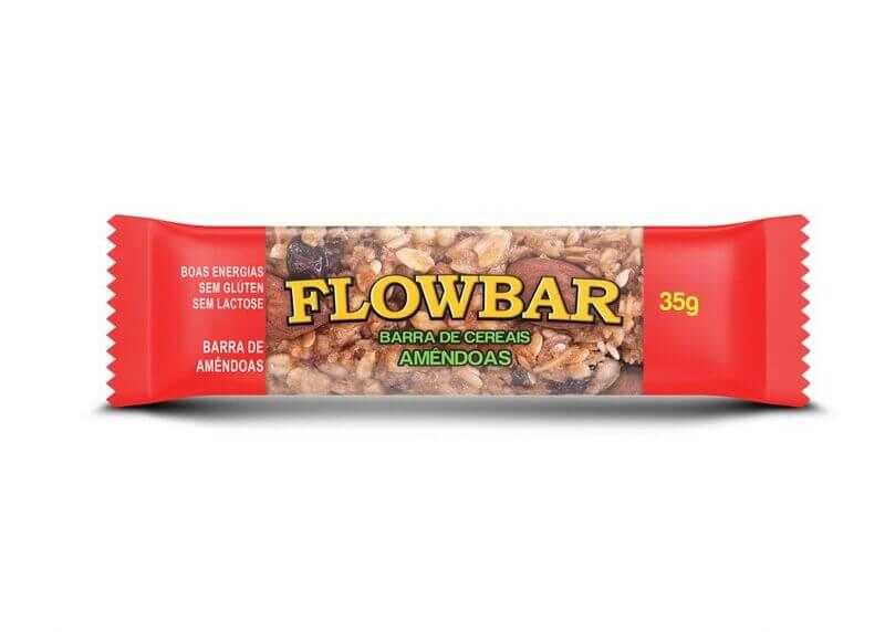 Barra de cereal sabor amêndoas - Flowbar - cx c/ 12 unidades