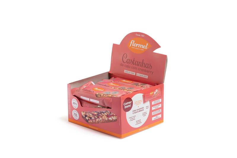 Barra de cereal castanhas de caju c/ cranberry e chocolate zero - Flormel - cx c/ 15 un.