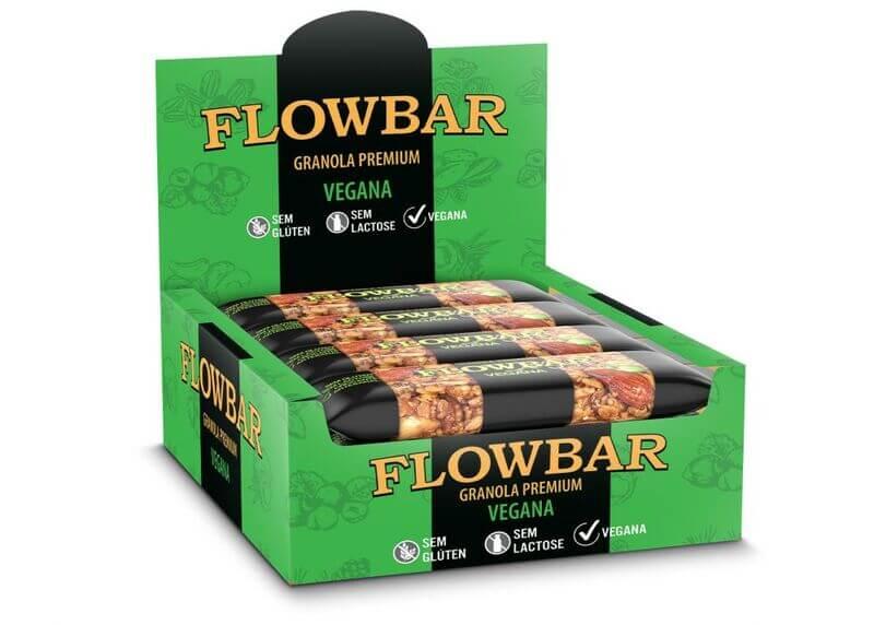 Barra de granola vegana premium 30g - flowbar - cx c/ 12 un.