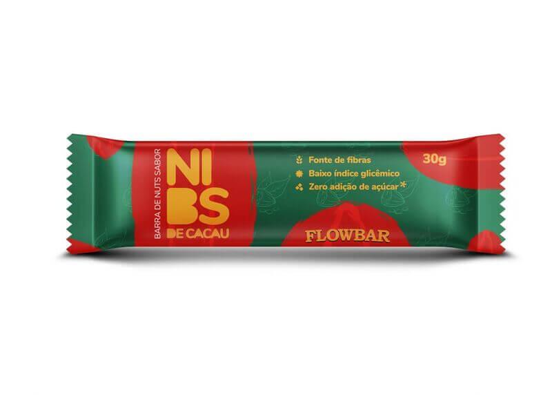 Barra de nuts c/ nibs de cacau 30g - flowbar - cx c/ 12 un.