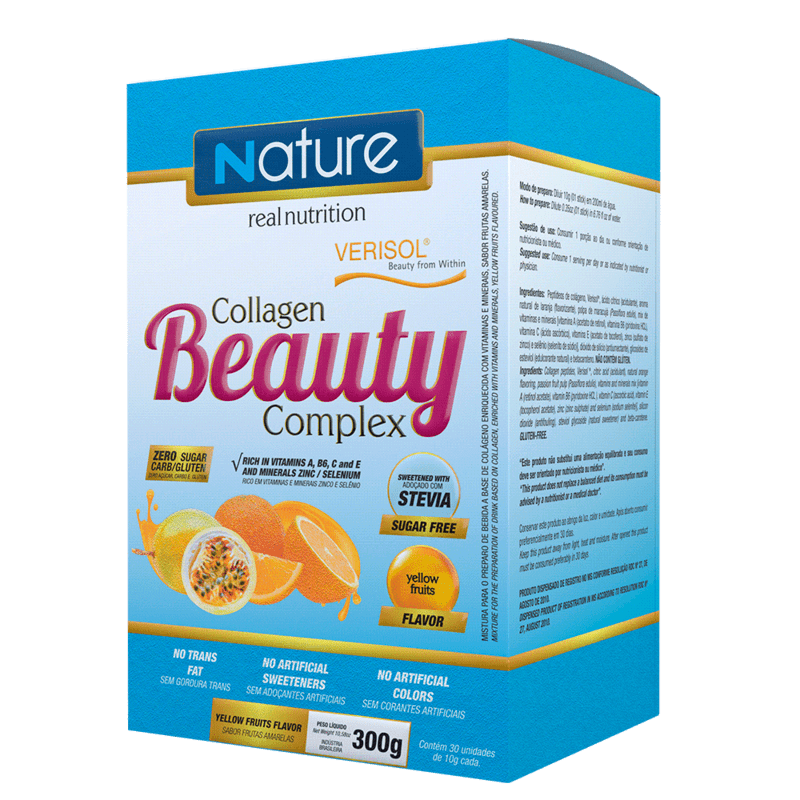 Colágeno beauty complex sabor frutas amarelas linha nature - Nutrata - 01 cx c/ 30 sticks