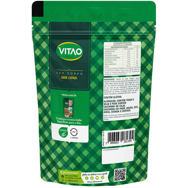 Biscoito integral sabor germen e mel 80g - Vitao - 01 un