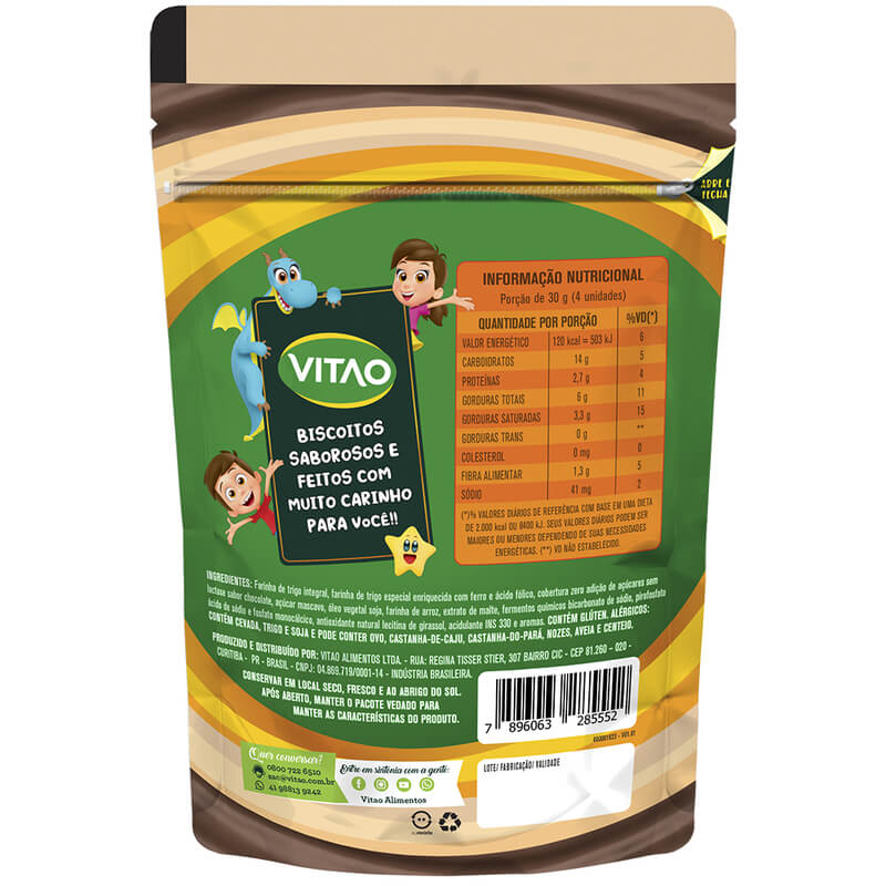 Biscoito integral de leite c/ cobertura de chocolate linha kids 80g - Vitao - 01 un