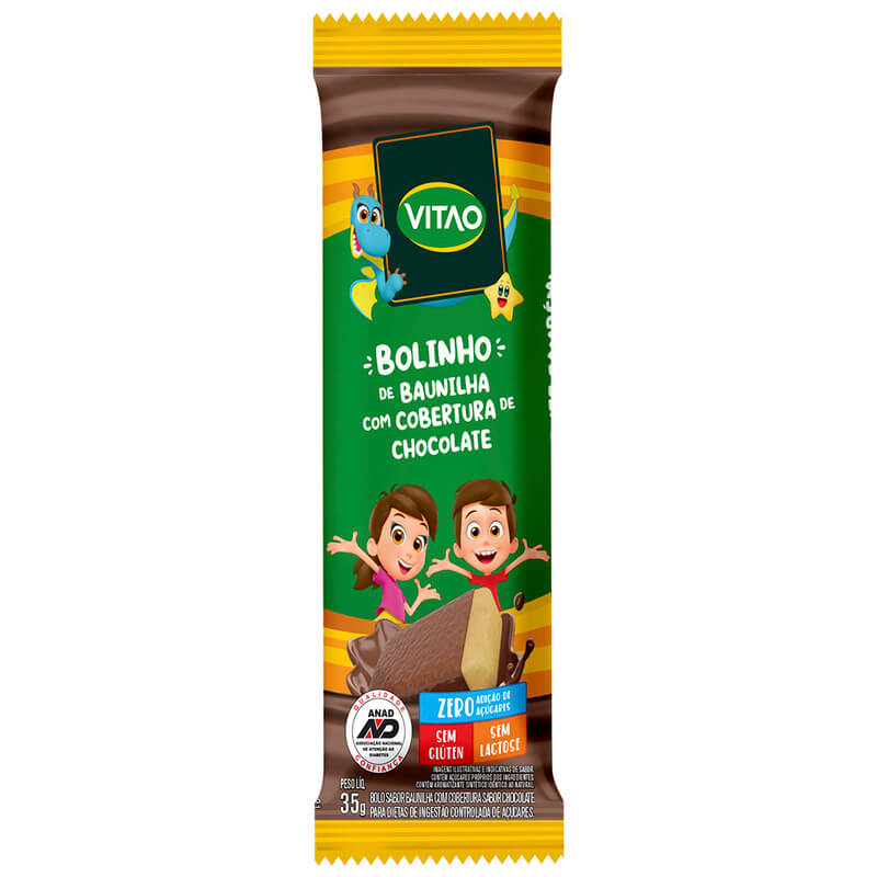 Bolinho s/ glúten sabor baunilha c/ cobertura de chocolate zero linha kids 35g - Vitao - 01 cx c/ 12 un