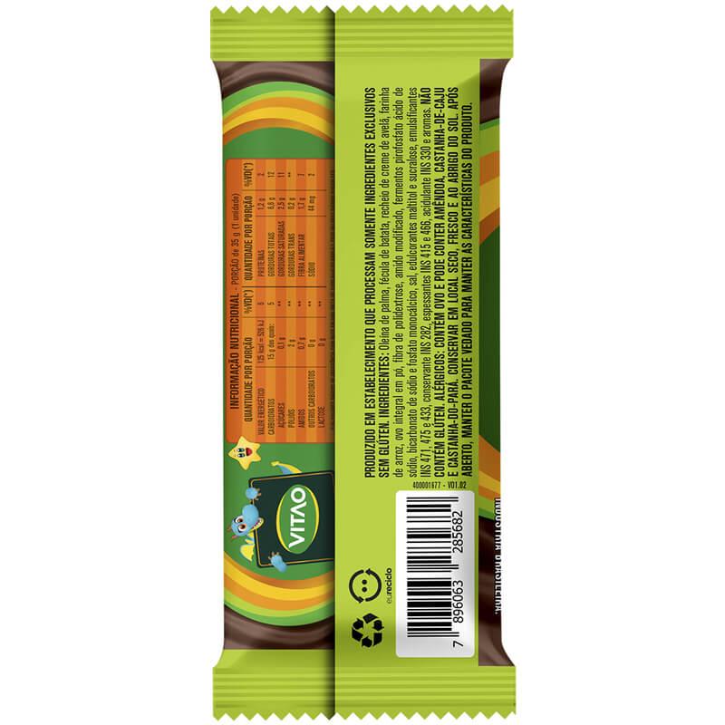 Bolinho s/ glúten sabor baunilha c/ recheio de avelã linha kids 35g - Vitao - 01 cx c/ 12 un