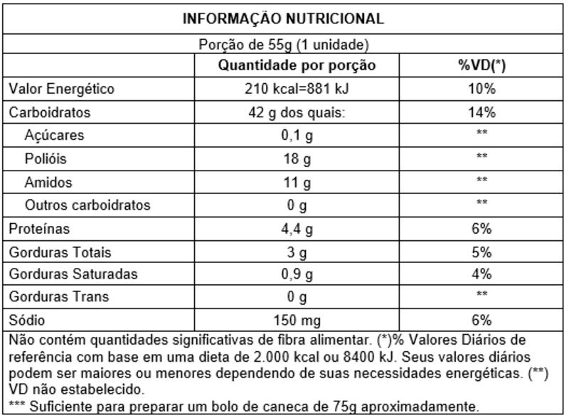 Bolo de caneca zero sabor baunilha - Vitao - 01 un