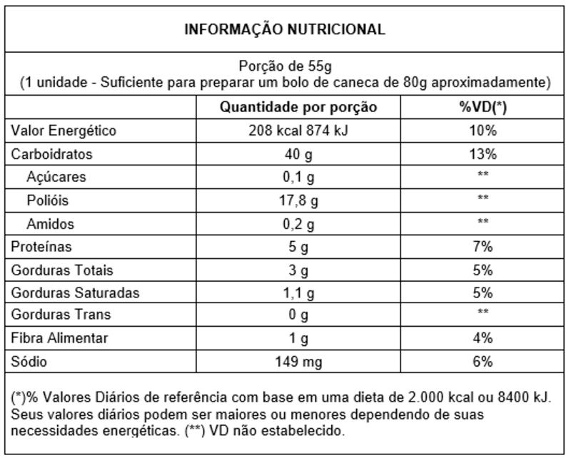 Bolo de caneca zero sabor chocolate - Vitao - 01 un