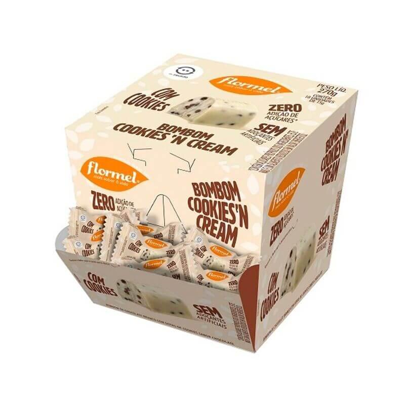 Bombom de chocolate branco c/ cookies'n cream zero - Flormel - cx c/ 18 un.