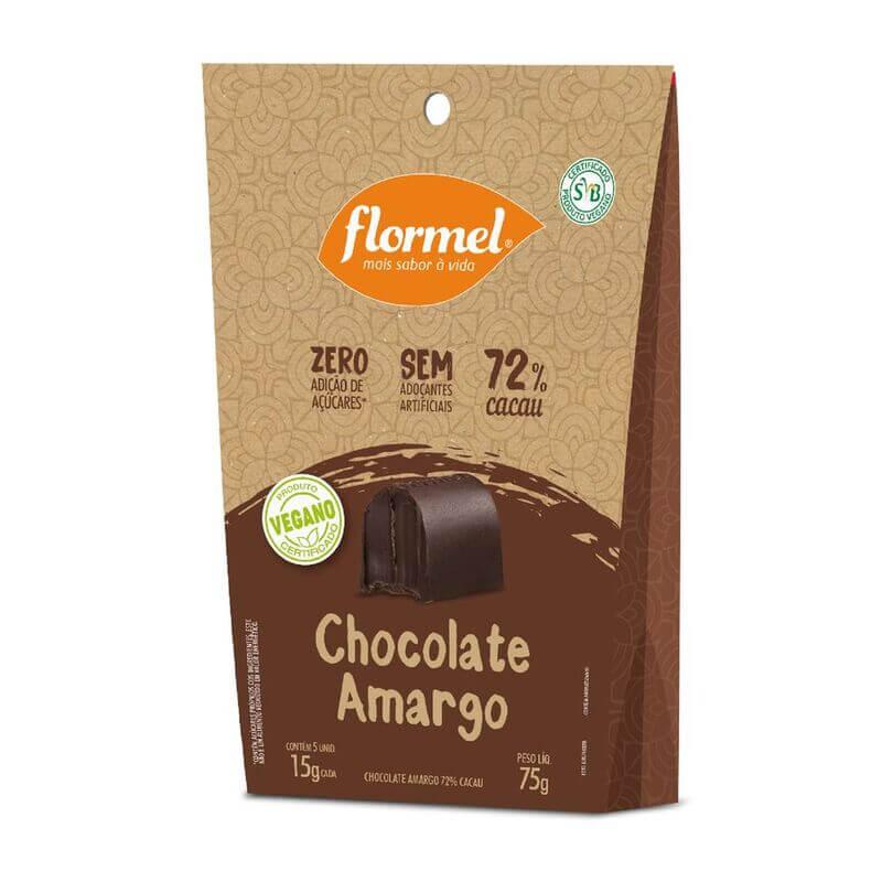 Bombom de chocolate amargo zero vegano - Flormel - pouch c/ 08 un.
