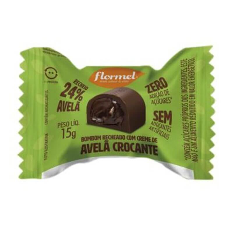 Bombom de chocolate ao leite c/ recheio de creme de avelã crocante zero - Flormel - un