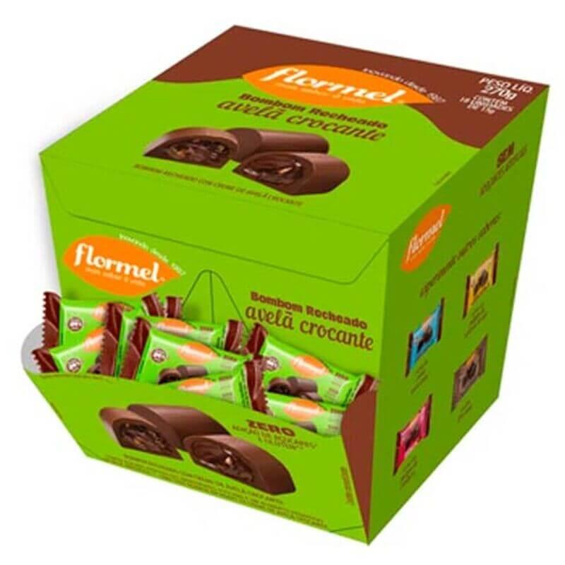 Bombom de chocolate ao leite c/ recheio de creme de avelã crocante zero - Flormel - cx c/ 18 un.