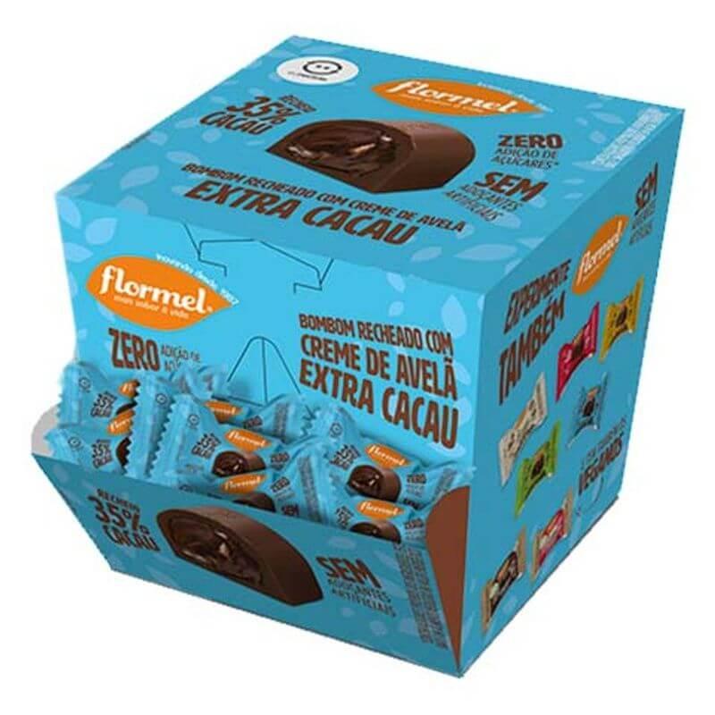 Bombom de chocolate ao leite c/ recheio de creme de avelã extra cacau zero - Flormel - cx c/ 18 un.