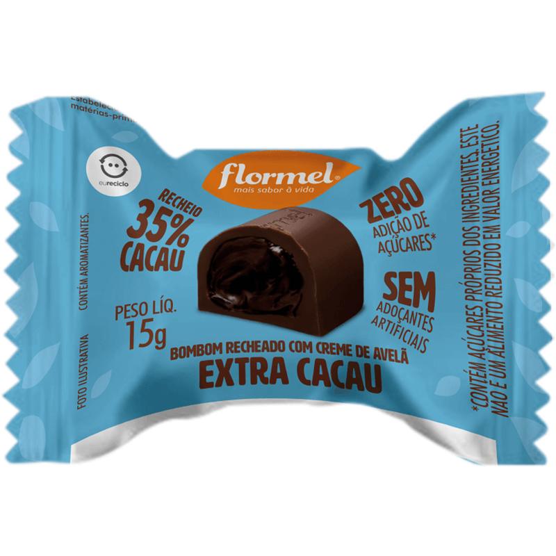 Bombom de chocolate ao leite c/ recheio de creme de avelã extra cacau zero - Flormel - unidade