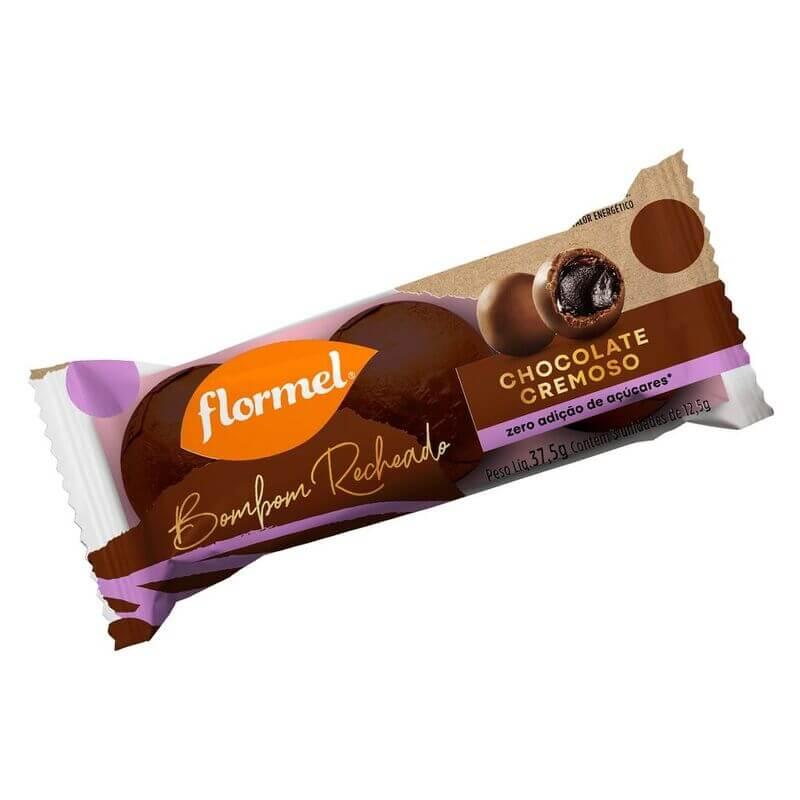 Bombom redondo ao leite recheado c/ chocolate cremoso - Flormel - un
