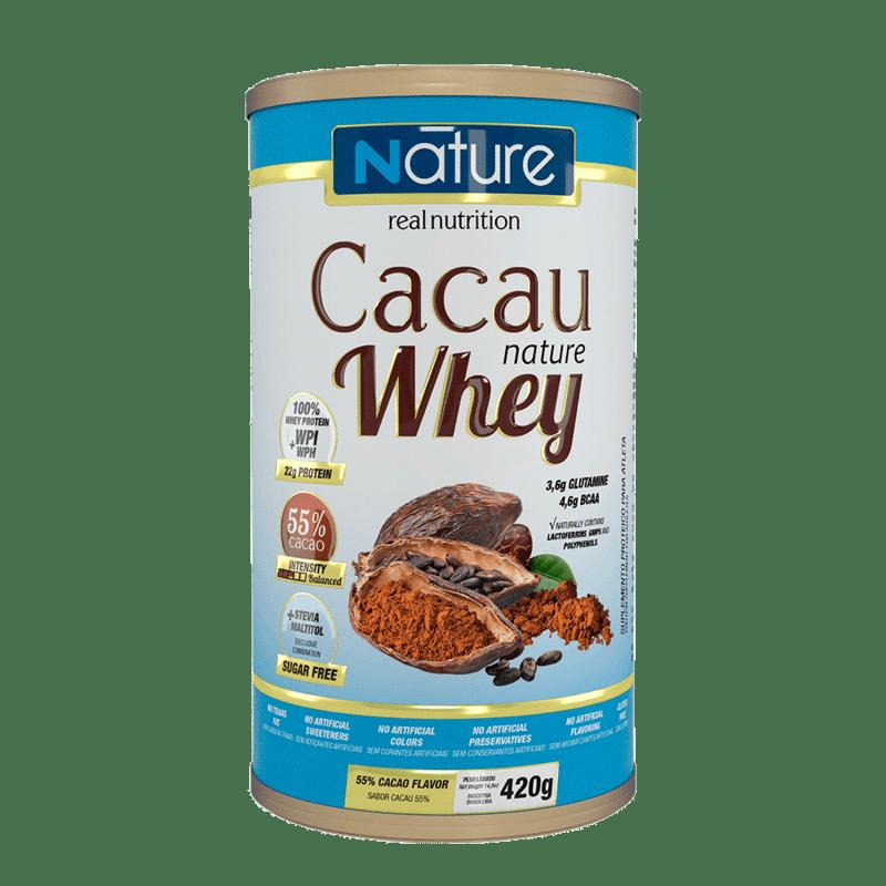 Whey sabor cacau 55% linha nature 420 g - Nutrata - 01 un
