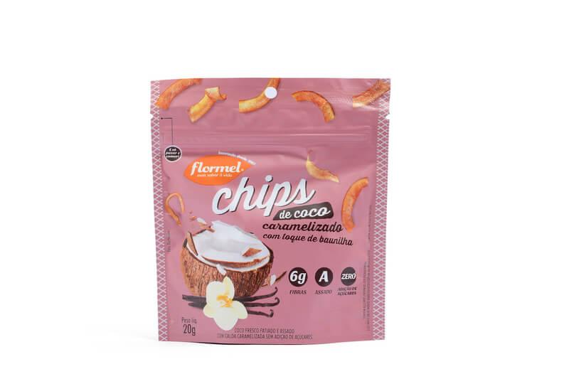Chips de coco caramelizado - Flormel - cx c/ 08 un.