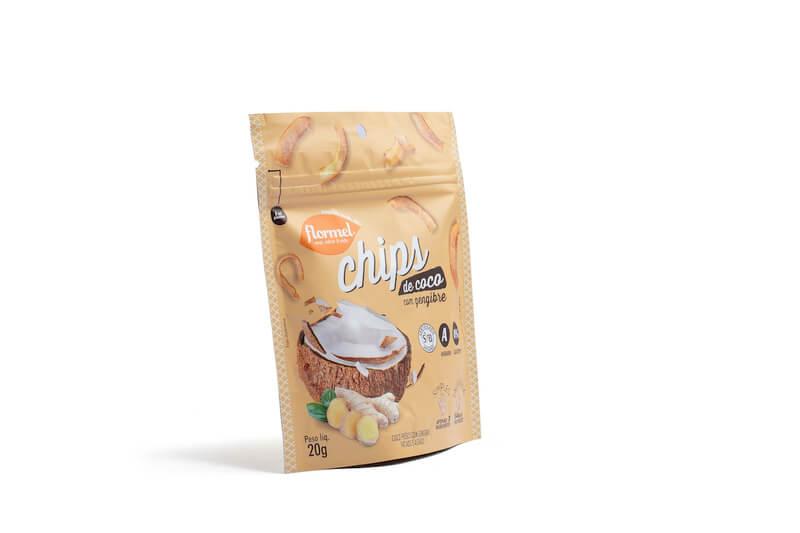 Chips de coco c/ gengibre - Flormel - cx c/ 08 un.