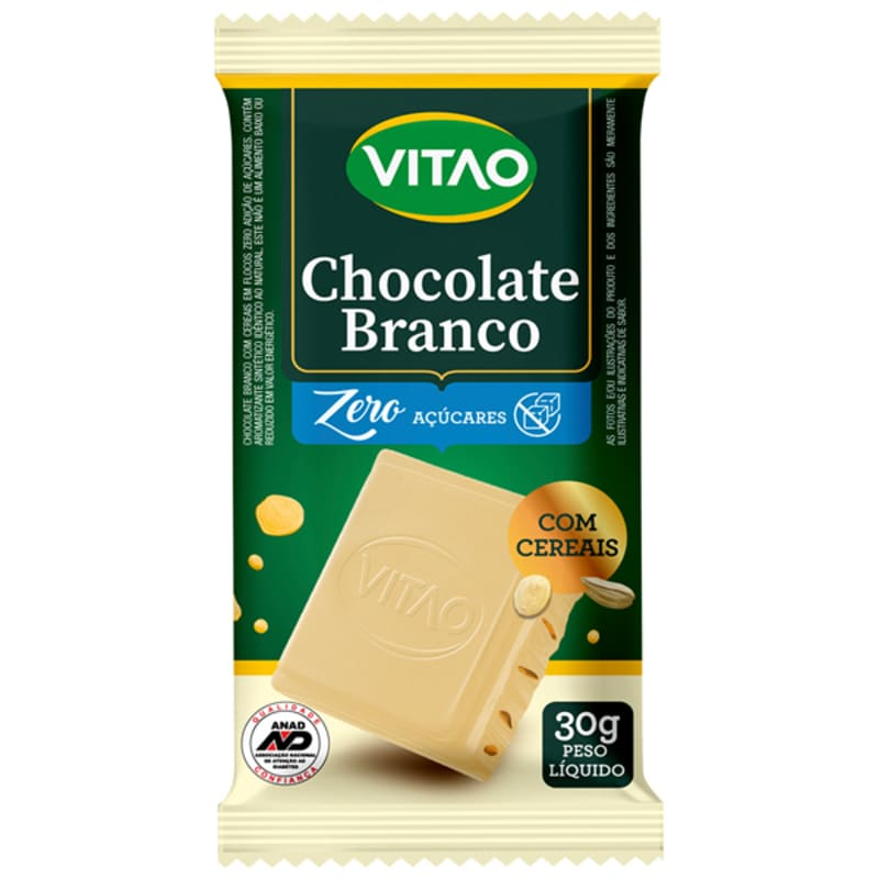Chocolate branco c/ cereais zero - Vitao - unidade