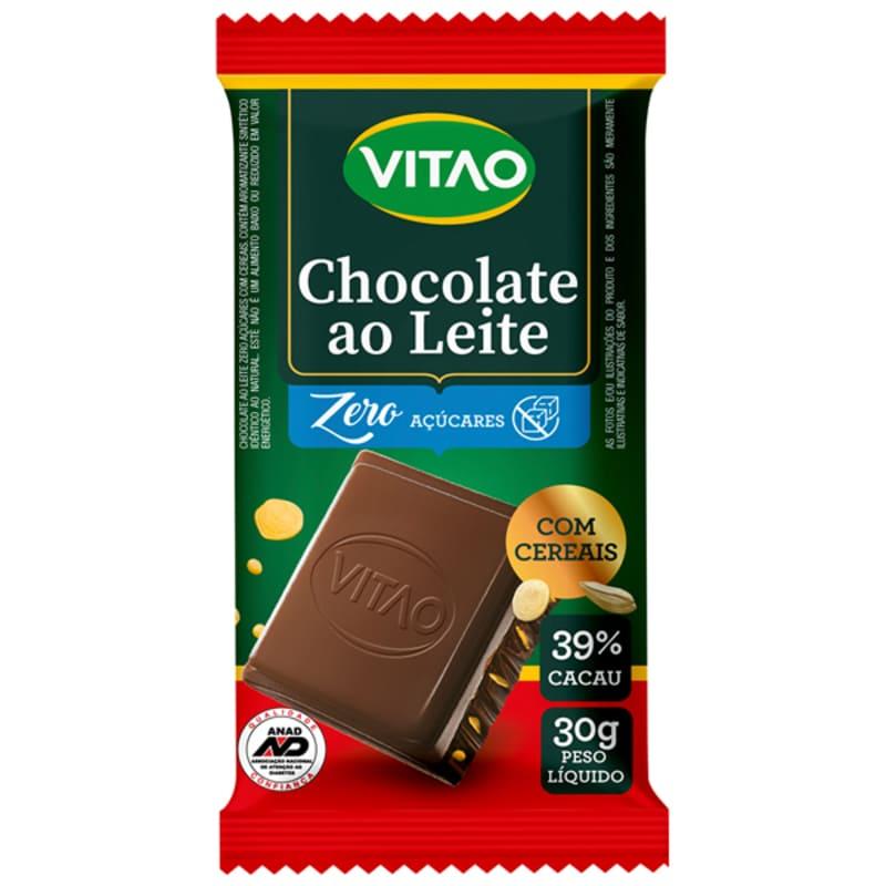 Chocolate ao leite c/ cereais zero - Vitao - cx c/ 18 un.