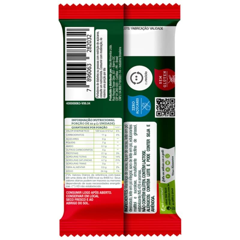 Chocolate ao leite zero - Vitao - cx c/ 24 un.