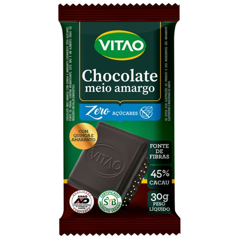 Chocolate meio amargo c/ quinoa e amaranto zero- Vitao - cx c/ 18 un.