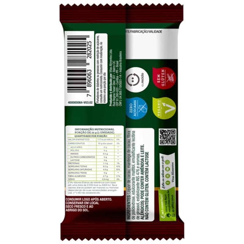 Chocolate meio amargo zero - Vitao - cx c/ 24 un.