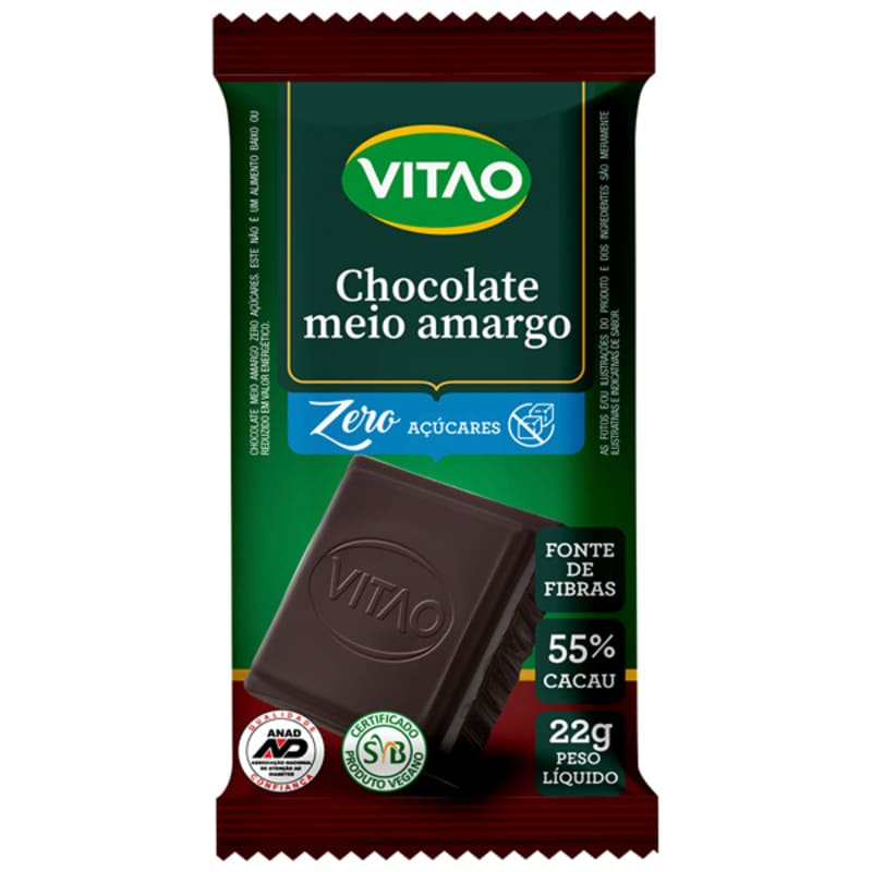 Chocolate meio amargo zero - Vitao - unidade