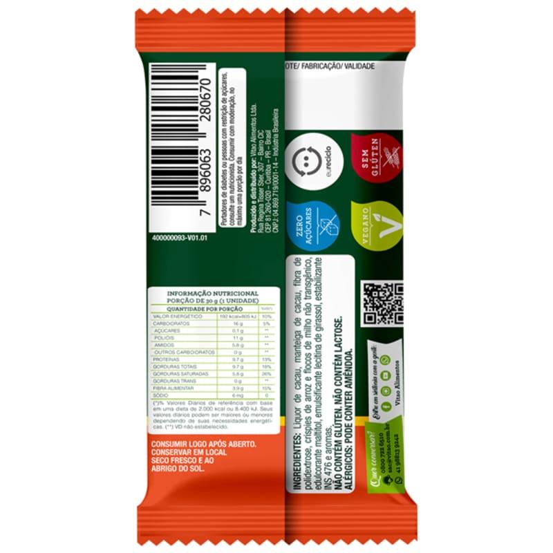 Chocolate s/ lactose c/ cereais zero - Vitao - cx c/ 18 un.