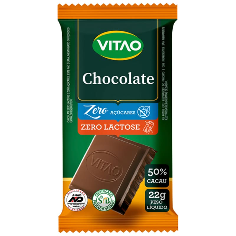 Chocolate s/ lactose zero - Vitao - cx c/ 24 un.