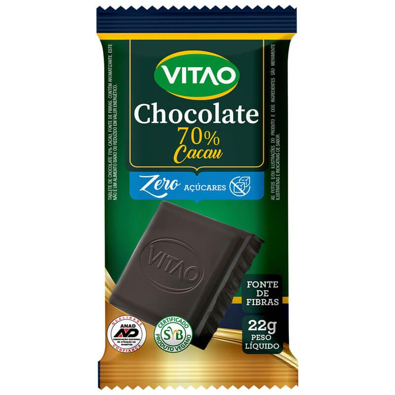 Chocolate amargo vegano zero 70% cacau - Vitao - 01 cx c/ 24 un.