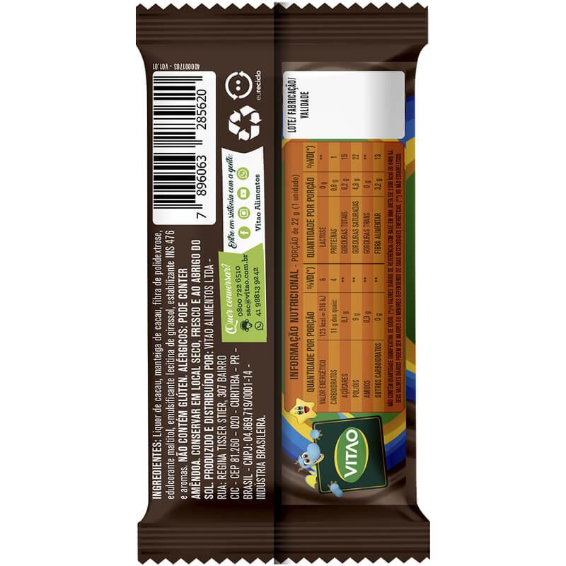 Chocolate 50% cacau zero s/ lactose linha kids 22g - Vitao - cx c/ 24 un.