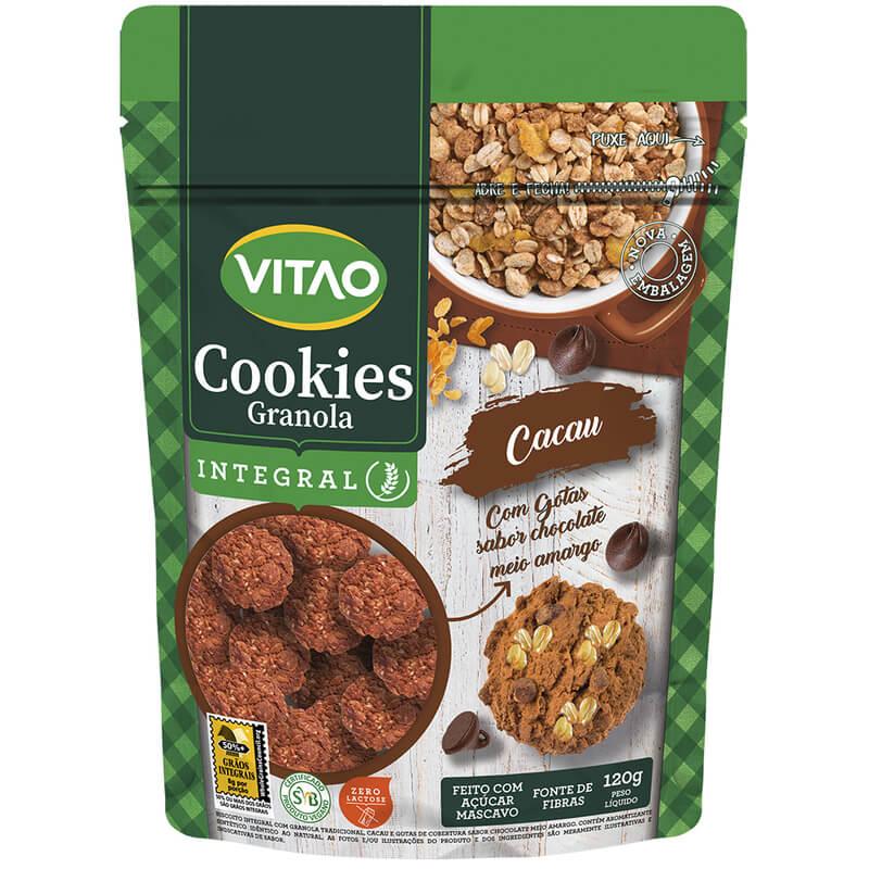 Cookie integral de granola sabor cacau c/ gotas de chocolate 120g - Vitao - 01 un