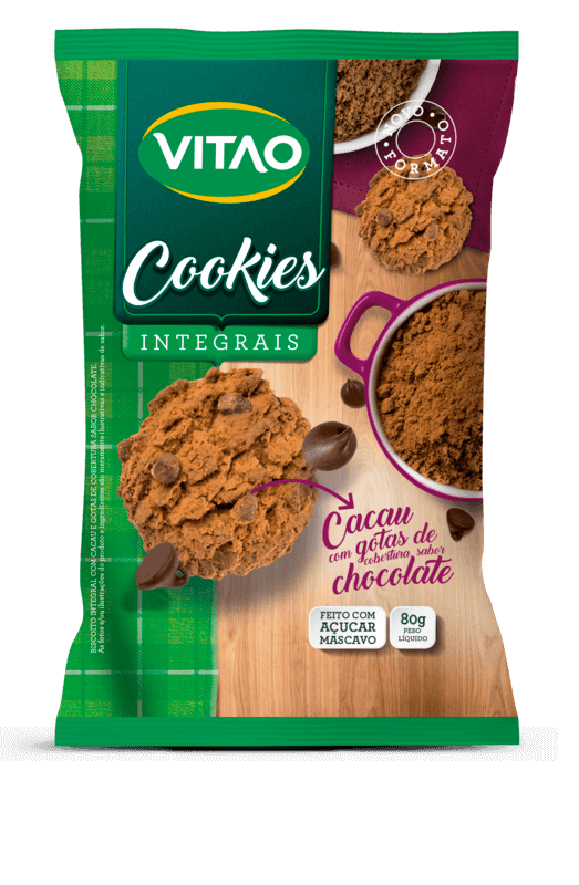 Cookie integral sabor cacau 80 g - Vitao - 01 un