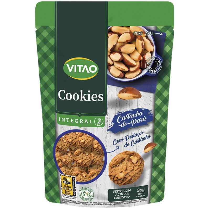 Cookie integral sabor castanha-do-pará 80 g - Vitao - 01 un
