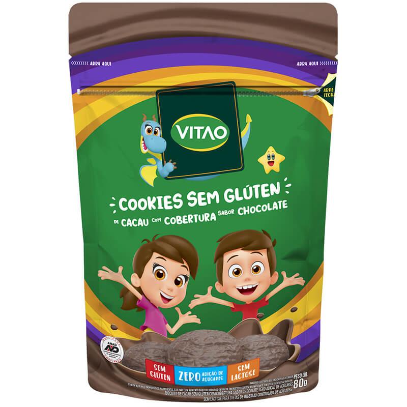Cookie s/ glúten sabor cacau c/ cobertura de chocolate linha kids 80g - Vitao - 01 un