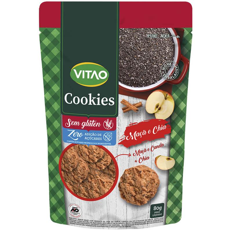 Cookie s/ glúten zero sabor maçã e chia - Vitao - 01 un