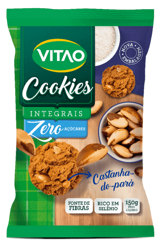 Cookie integral sabor castanha-do-pará zero 150 g- Vitao - 01 un
