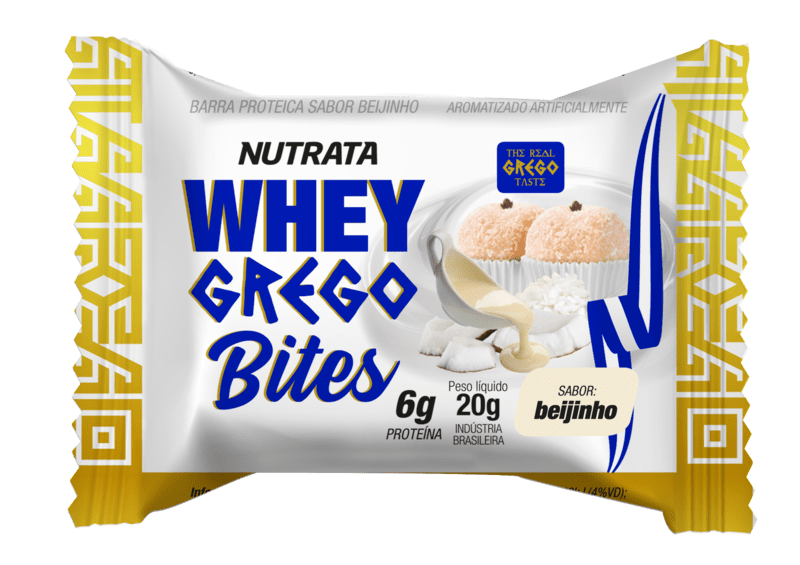 Barra de proteína whey grego bites sabor beijinho - Nutrata - cx c/ 15 un.