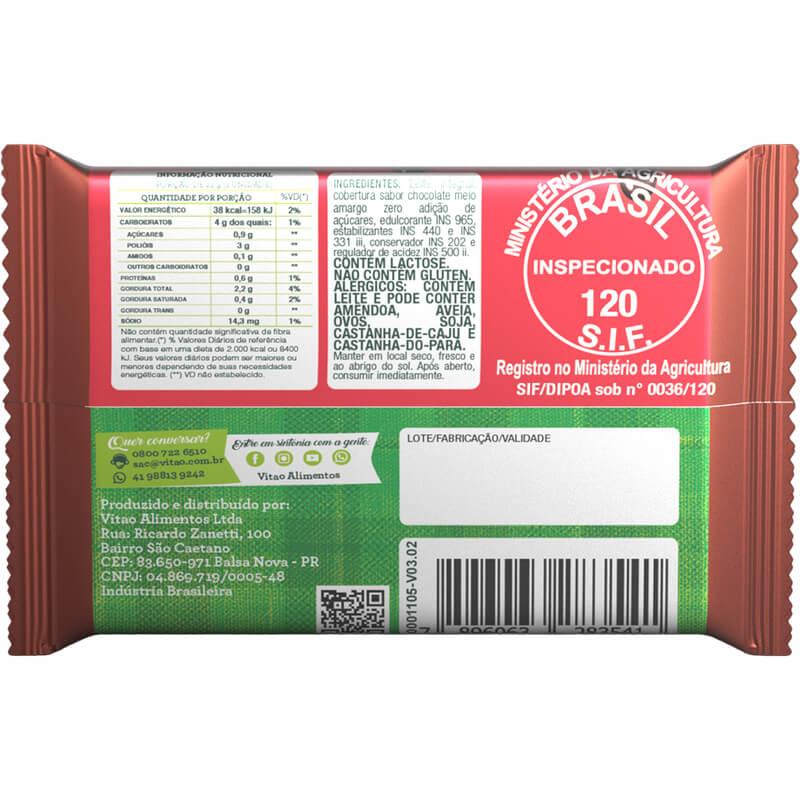 Tablete de doce de leite zero com cobertura de chocolate meio amargo 18g - Vitao - caixa c/ 03 un