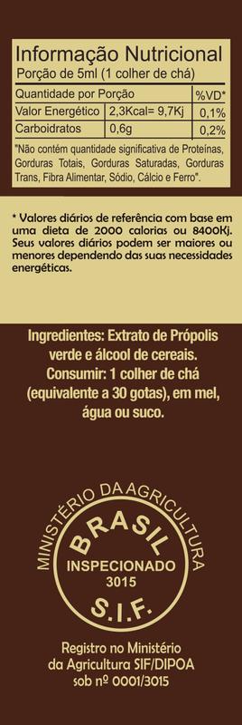 Extrato de própolis verde 11% seco gotas 30 ml - Bellabelha - un