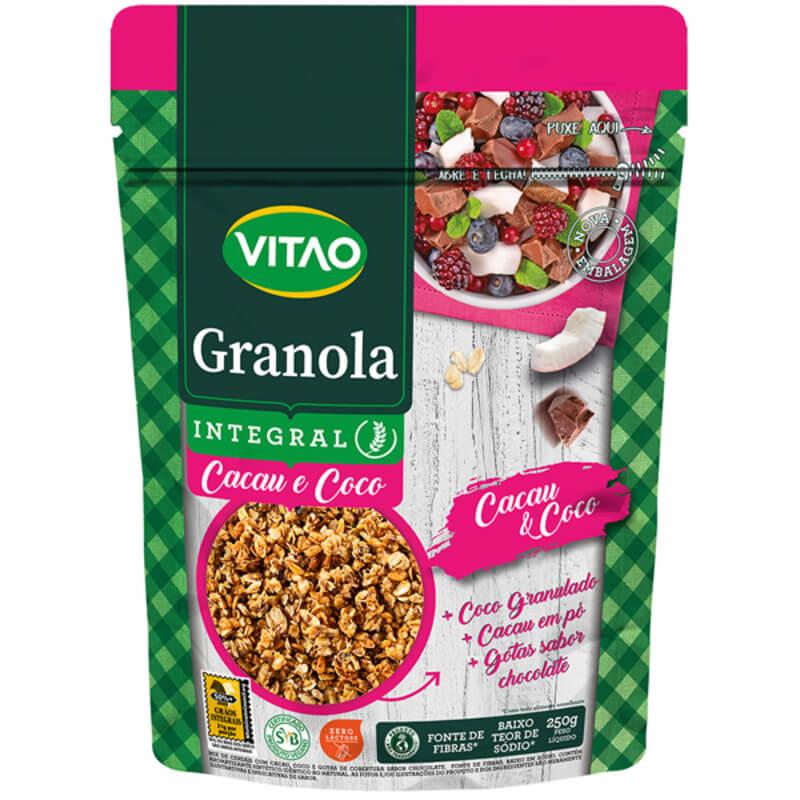 Granola tradicional integral sabor cacau e coco 250 g - Vitao - 01 un