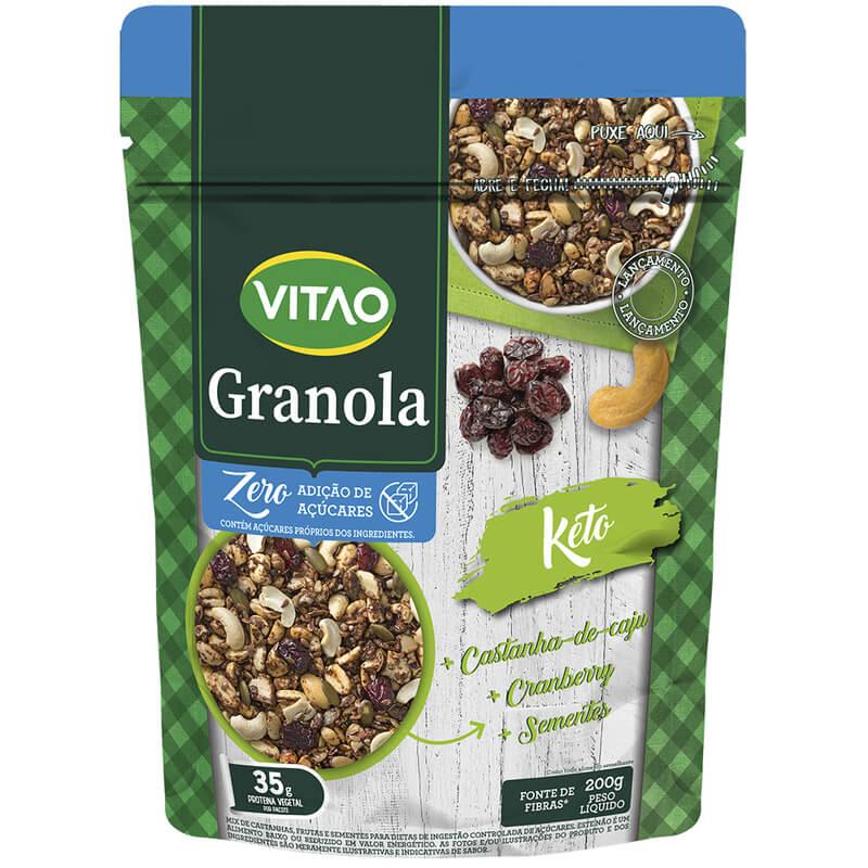 Granola tradicional integral zero sabor keto 200g - Vitao - unidade
