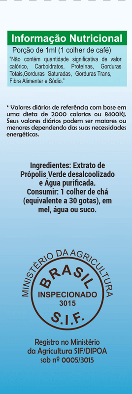 Extrato aquoso de própolis verde H2propolis 11% seco gotas 30 ml - Bellabelha - un